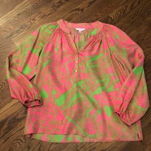 Lilly Pulitzer Elsa printed silk blouse sz s